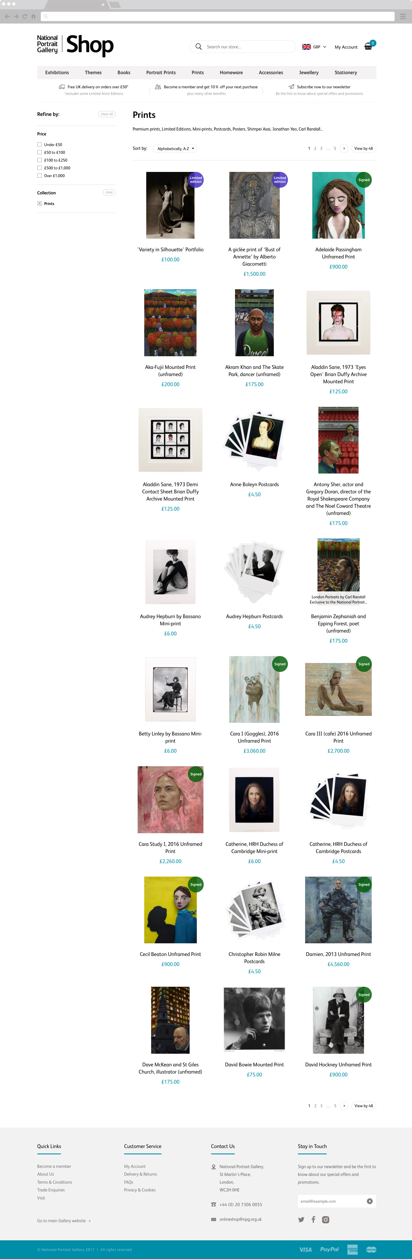 National Portrait Gallery Shop Collection Page