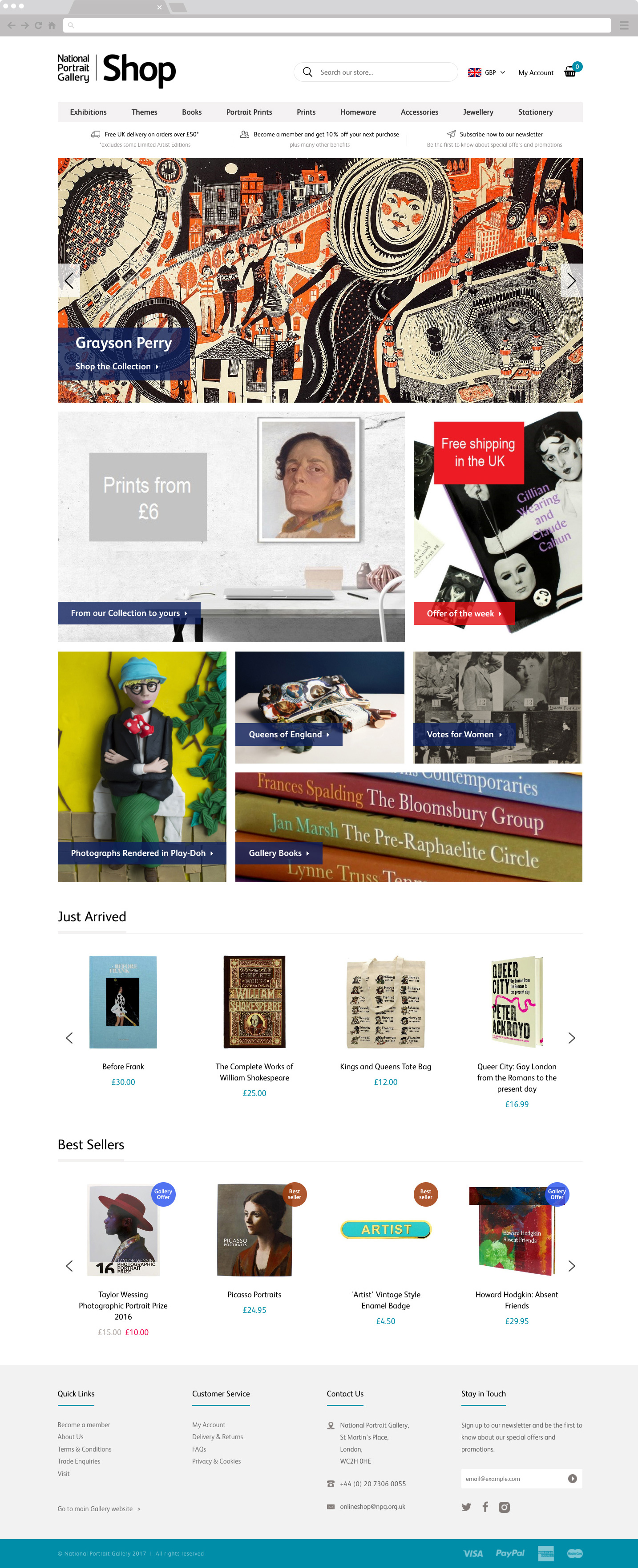 National Portrait Gallery Shop Homepage